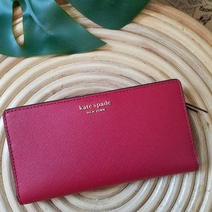 Kate Spade Large Slim Bifold Wallet Rosso Red